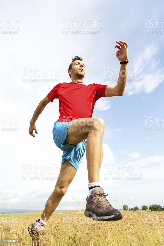 Athlete trail running royalty-free stock photo