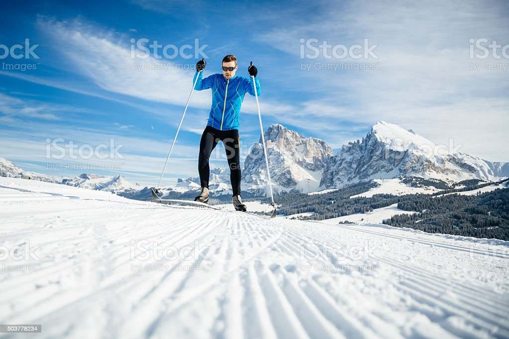 Athlete Training Cross Country Skiing stock photo