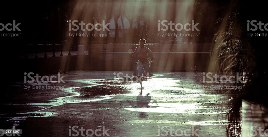 Athlete training using natural method outdoors royalty-free stock photo
