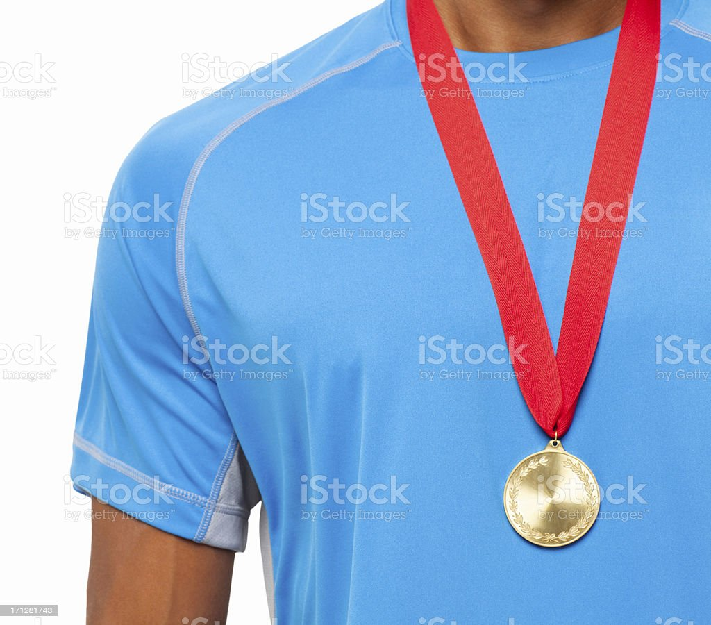 Athlete Wearing a Gold Medal - Isolated stock photo