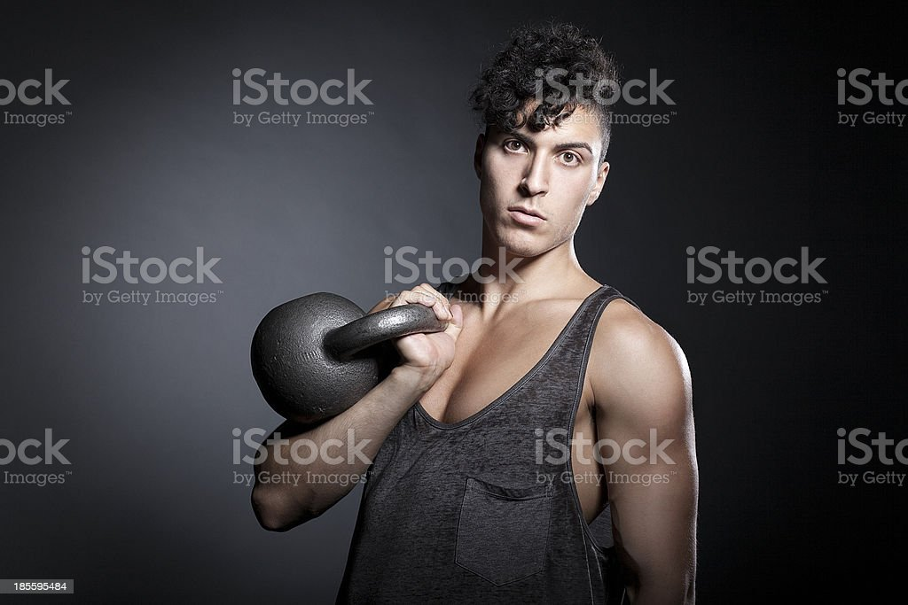 Athlete with Kettlebell royalty-free stock photo