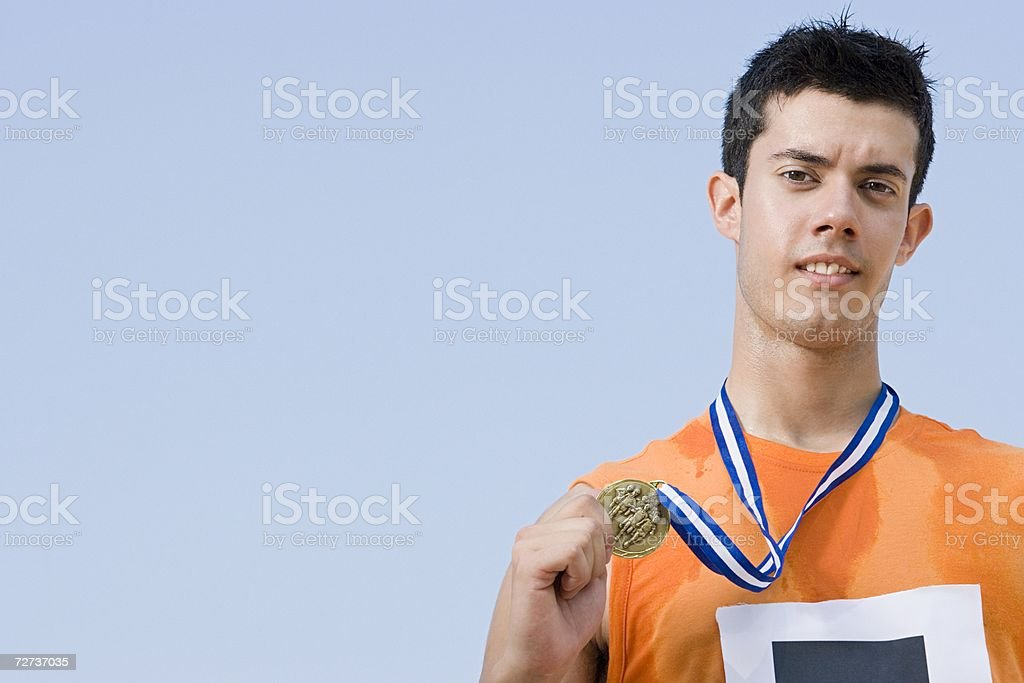 Athlete with medal royalty-free stock photo
