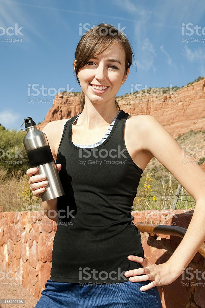 Athlete with Stainless Steel Water Bottle stock photo