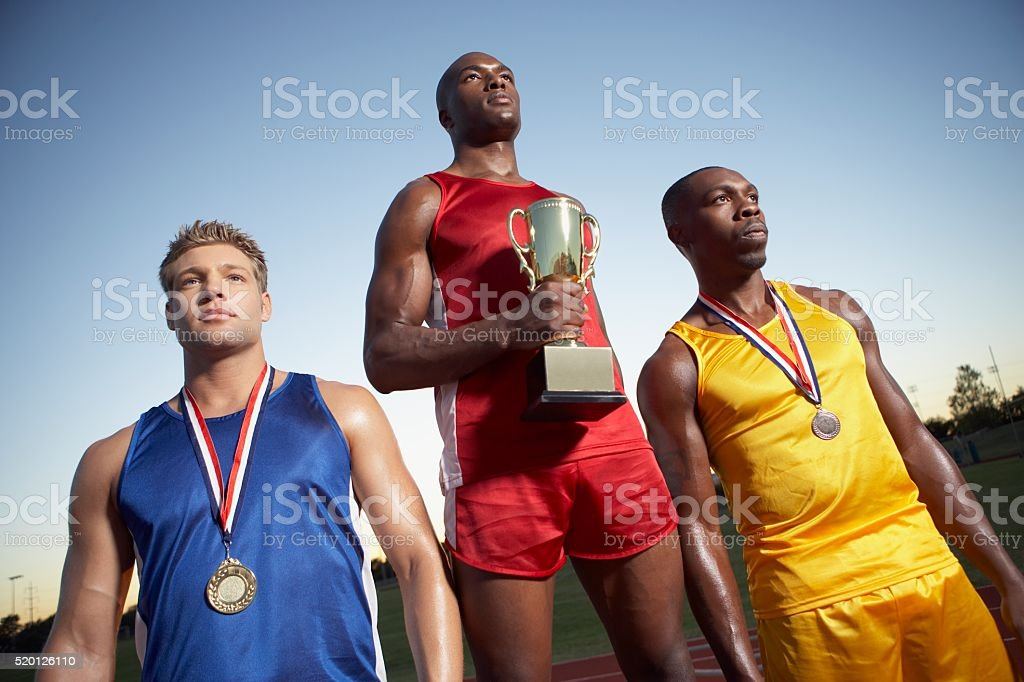 Athletes at an award ceremony stock photo
