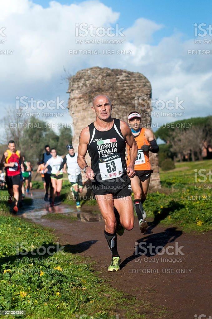 Athletes at Marathon of the Epiphany, Rome, Italy stock photo