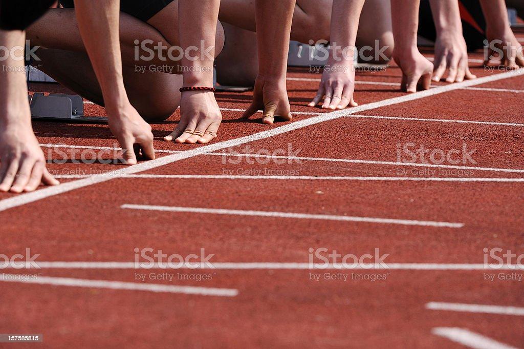 Athletes at start royalty-free stock photo