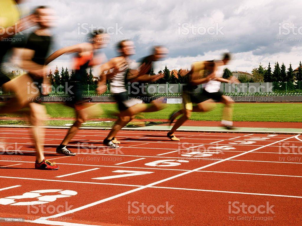 Athletes at the finish line stock photo