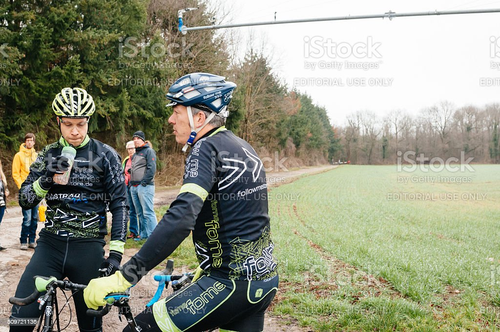 Athletes before and after the Amateur Cyclo-Cross Race stock photo