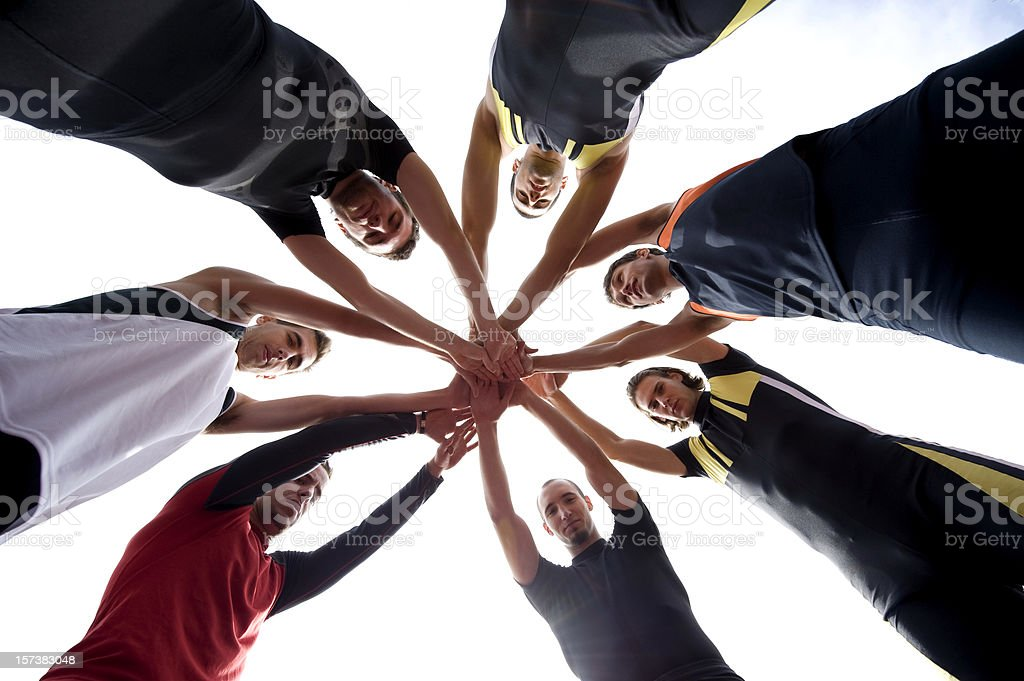 Athletes celebrating stock photo
