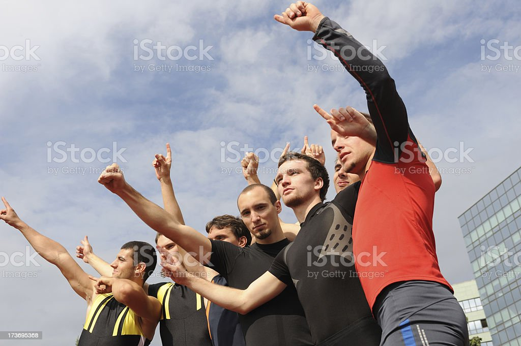 Athletes celebrating royalty-free stock photo