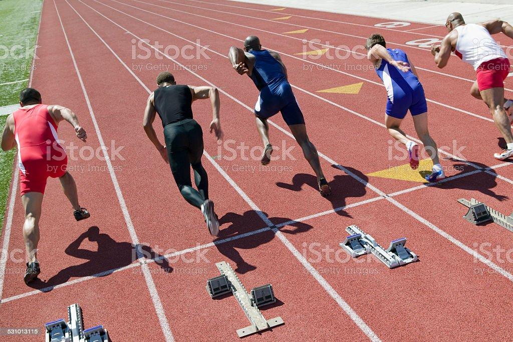 Athletes competing stock photo