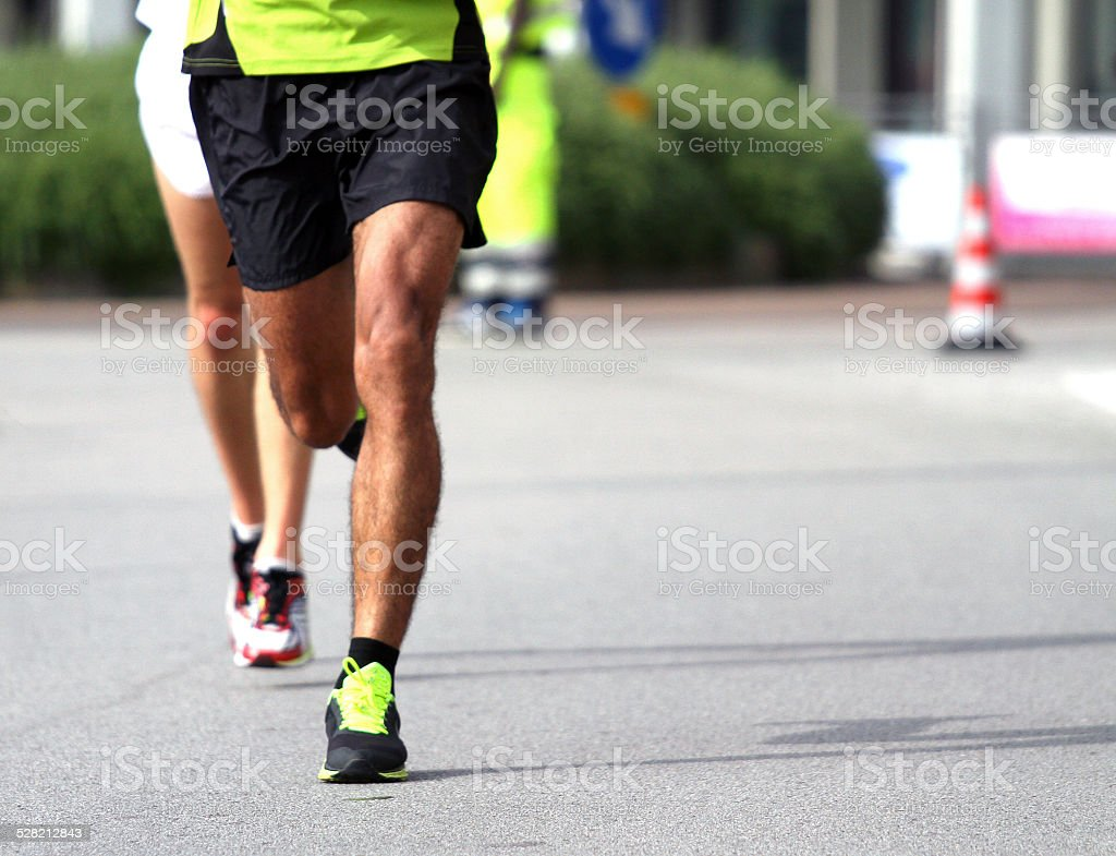Athletes during the marathon stock photo
