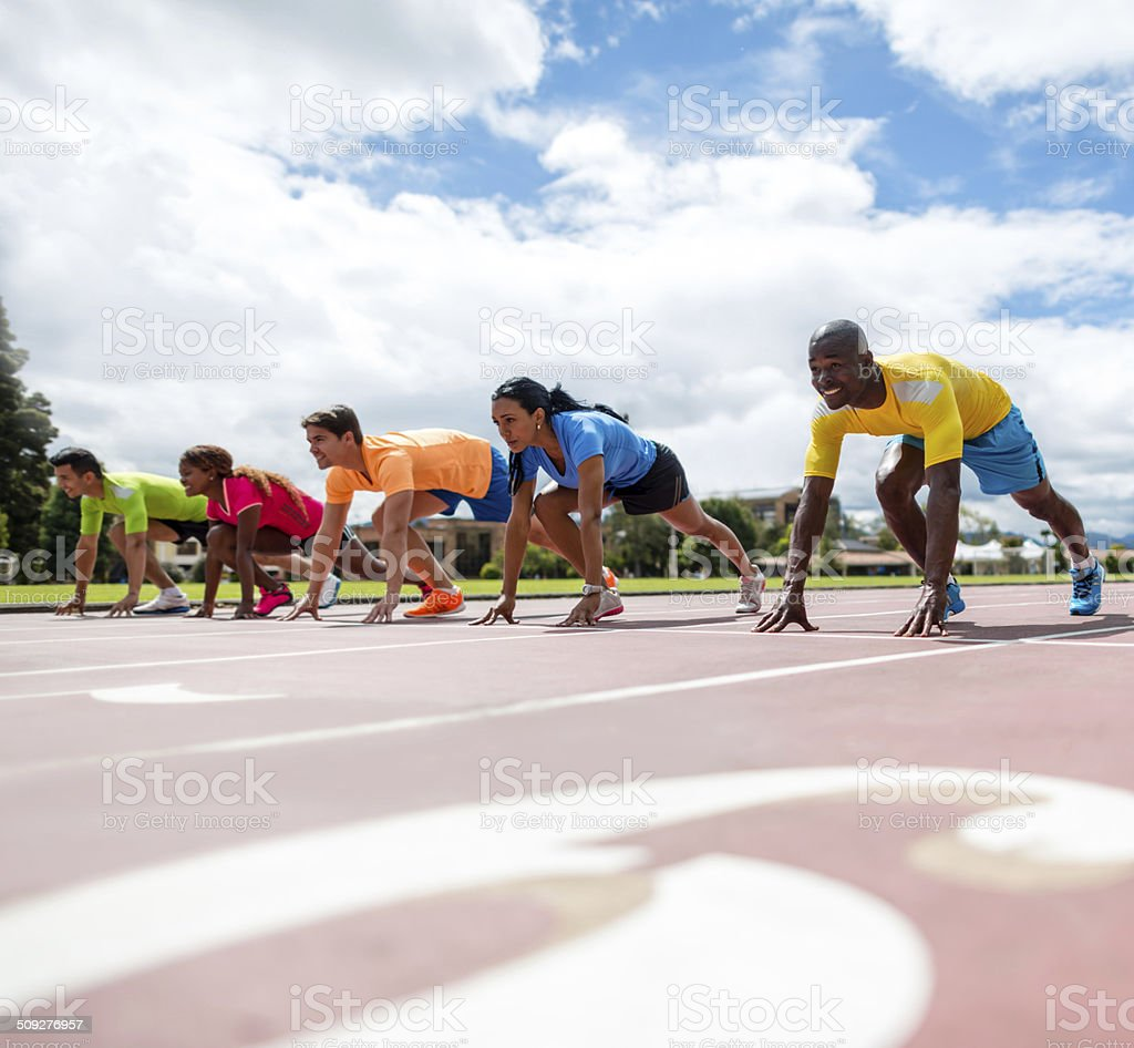 Athletes ready for running stock photo