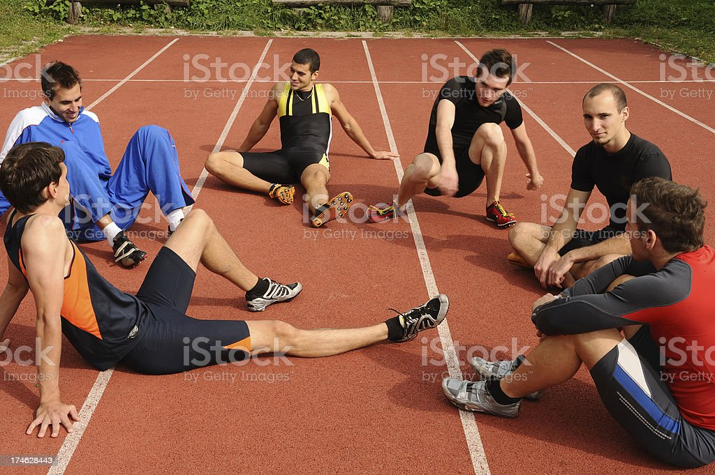 Athletes relaxing royalty-free stock photo