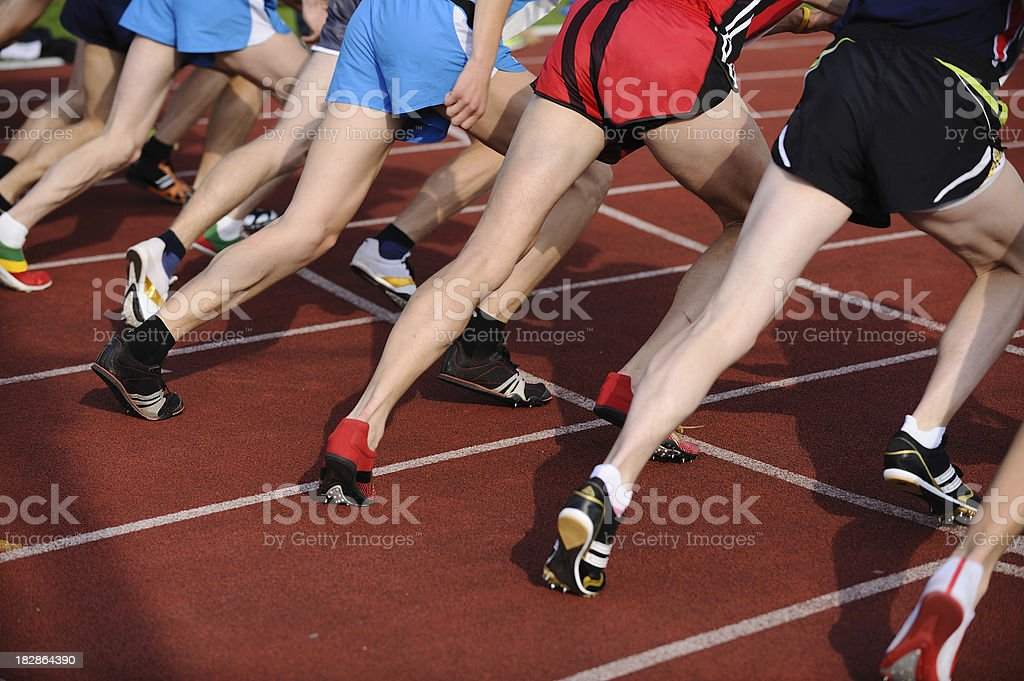 Athletes starting the race royalty-free stock photo