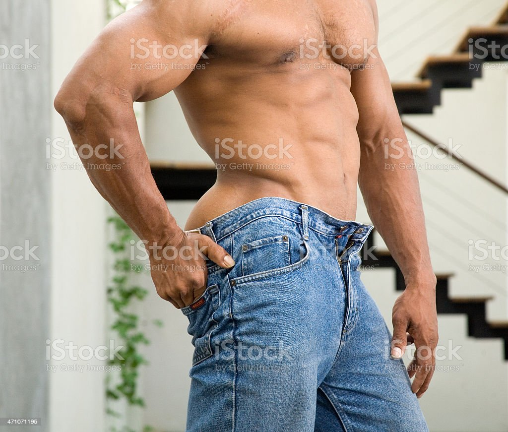athletic  abs and butt on male bodybuilder royalty-free stock photo