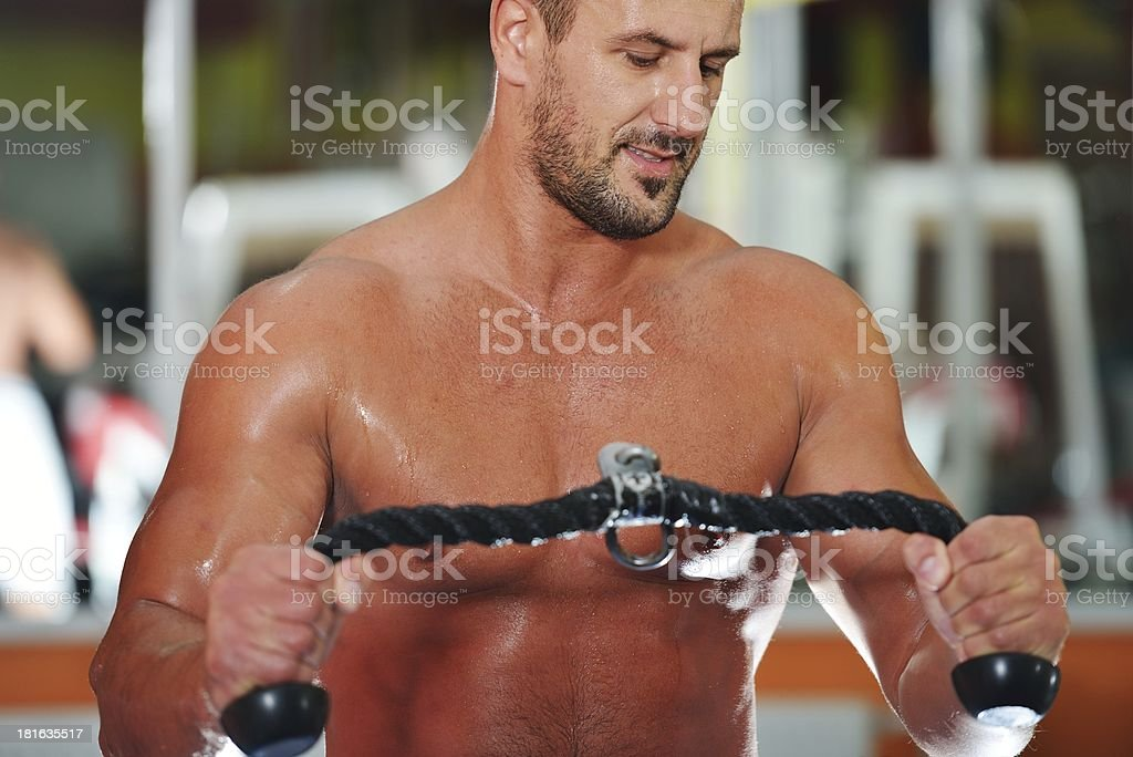 Athletic bodybuilder, execute exercise in sport gym hall royalty-free stock photo