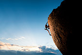 Athletic female rock climber