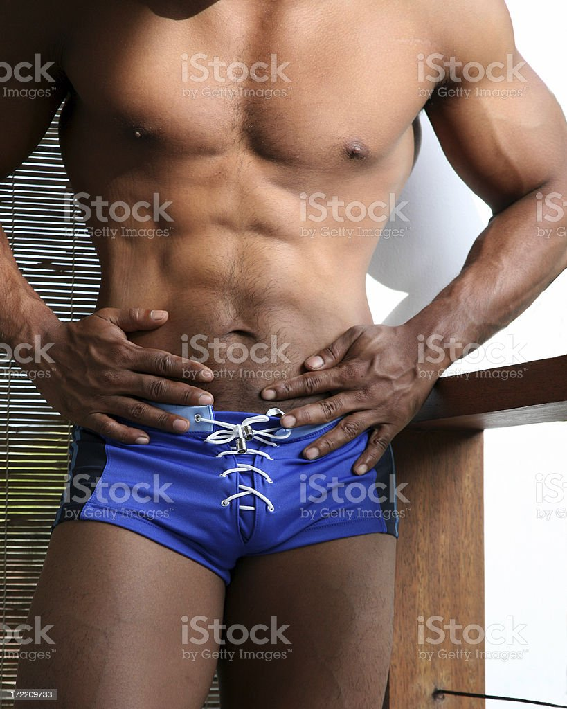 athletic male abs and hands portrait royalty-free stock photo
