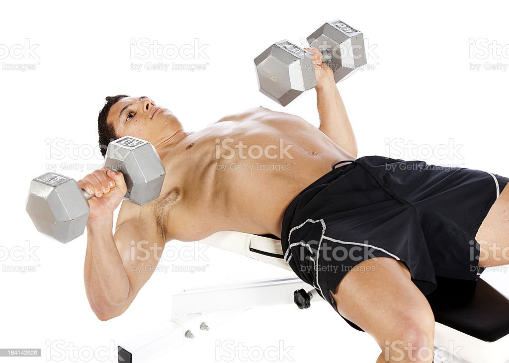 Athletic Male Lifting Weights royalty-free stock photo