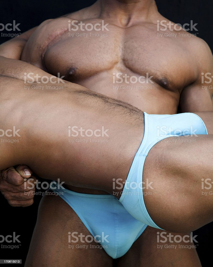 athletic male torsos by two stock photo