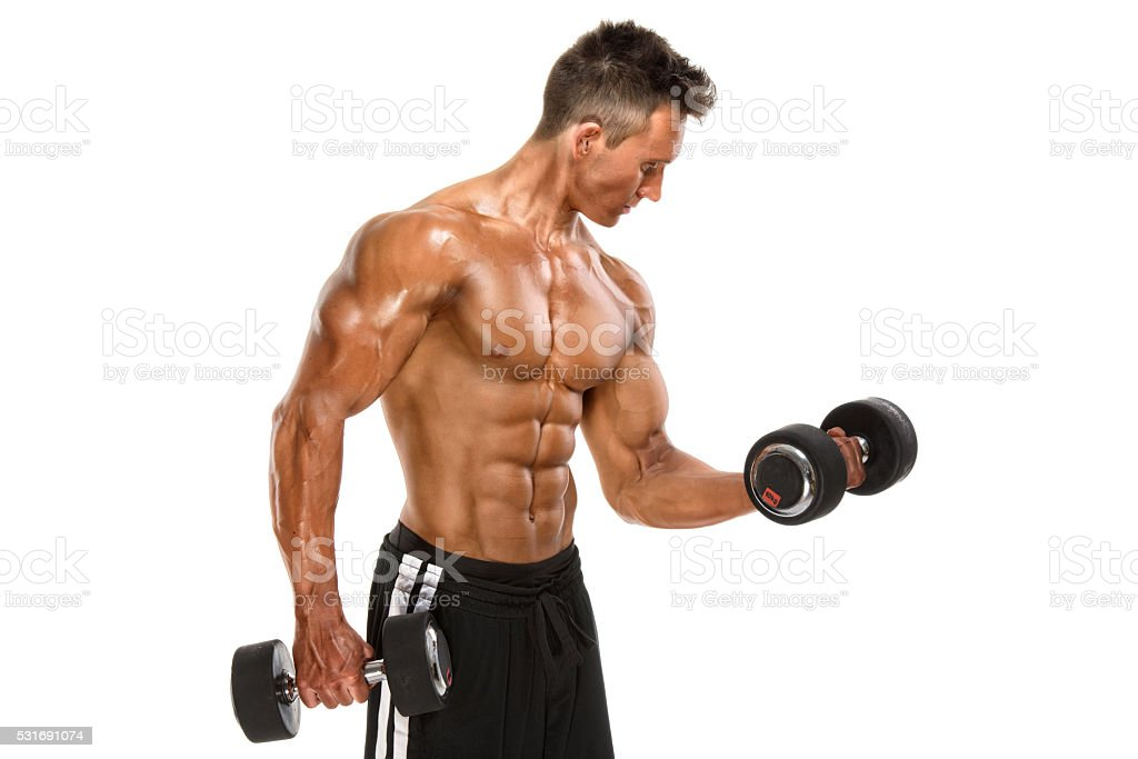 Athletic Men Exercise With Weights stock photo