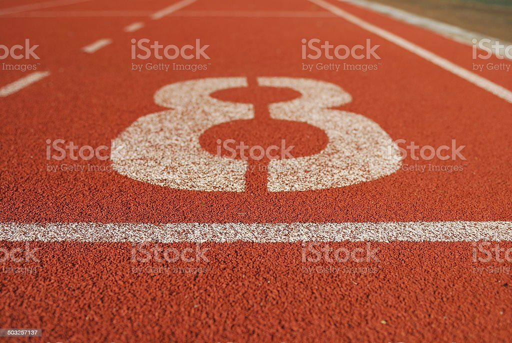 Athletic running track in stadium stock photo