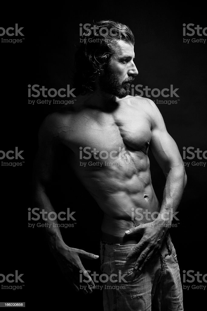 Athletic shirtless male royalty-free stock photo