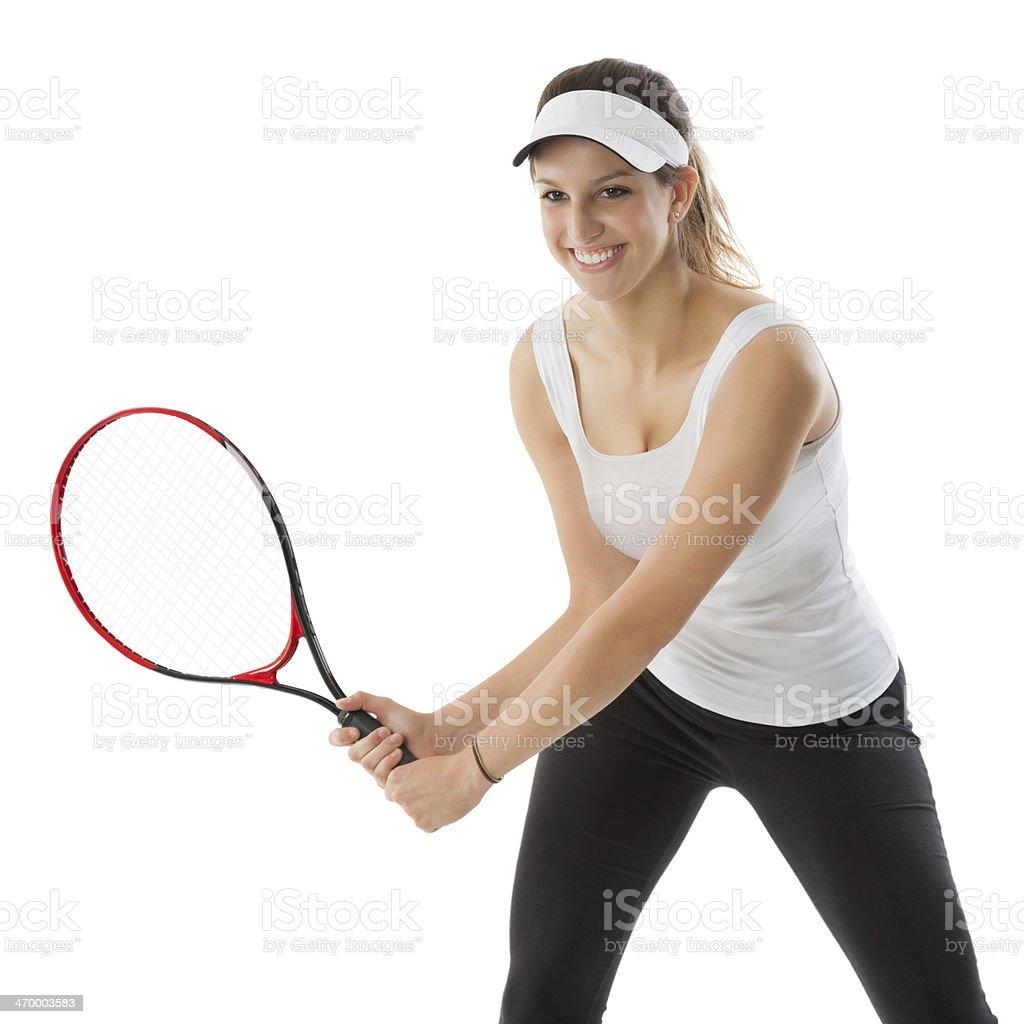 Athletic tennis player playing game; studio shot royalty-free stock photo