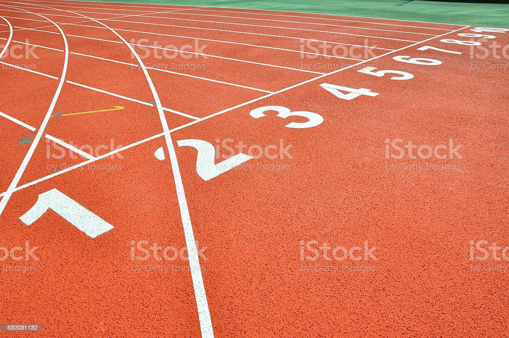 Athletic track lane number. stock photo