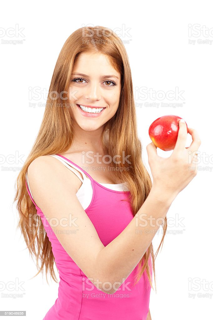 Athletic woman healthy eating. stock photo