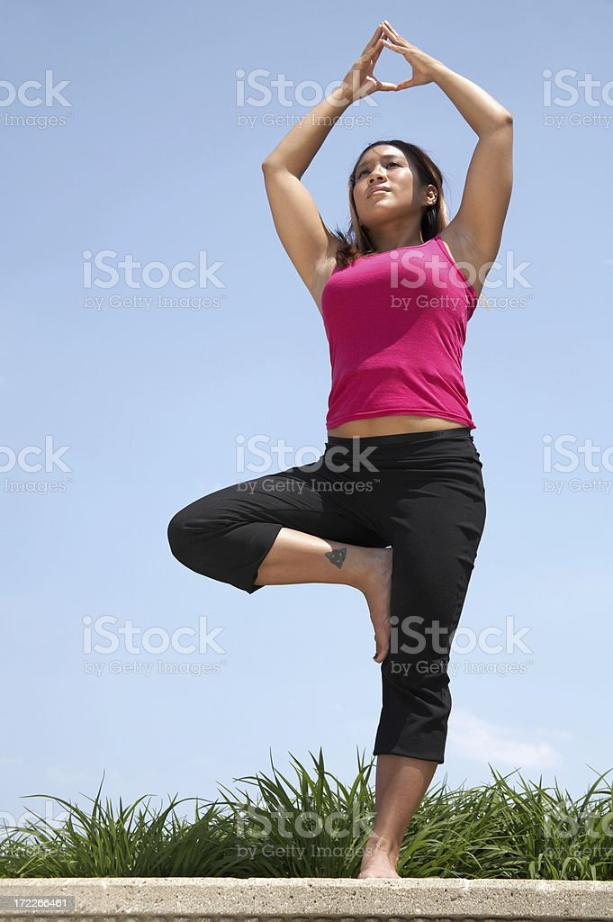 Athletic Woman - Tree Pose royalty-free stock photo