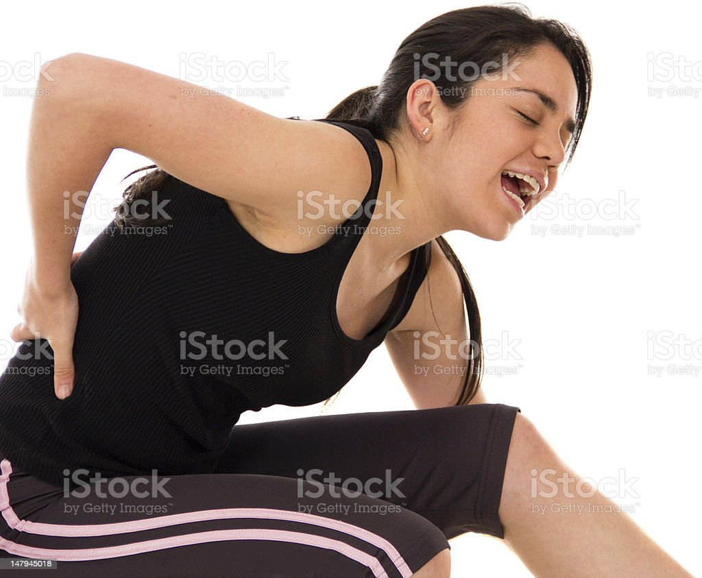 Athletic woman with an injury royalty-free stock photo