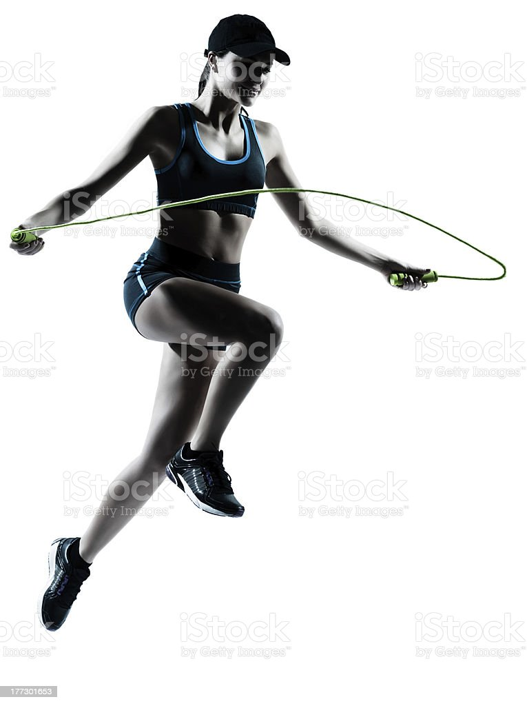 Athletic women with rope on white background royalty-free stock photo