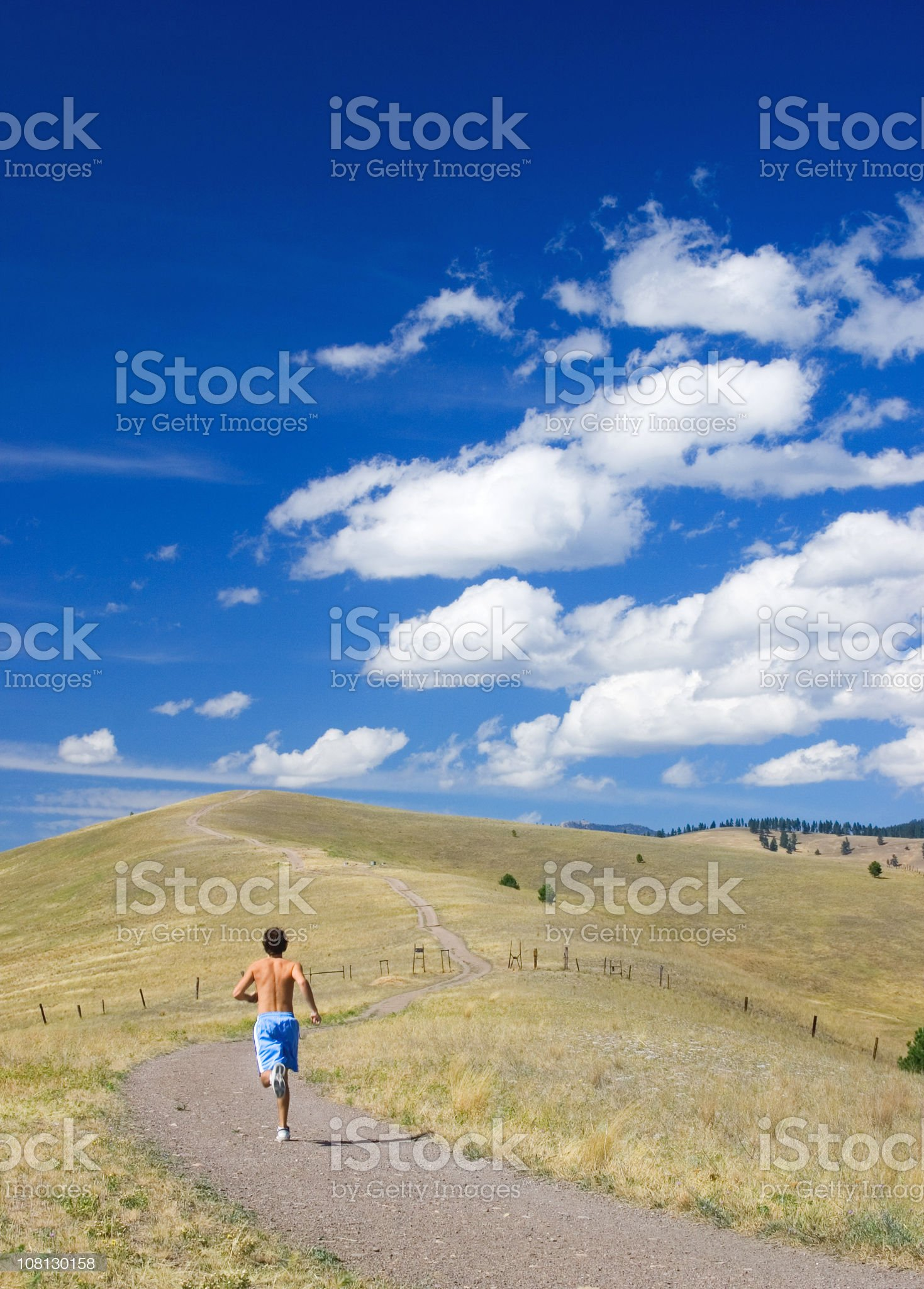 Athletic Young Man Running Down Trail royalty-free stock photo