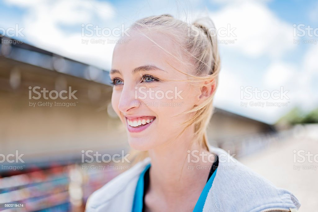 Athletic Young Woman Starting Her Workout. stock photo