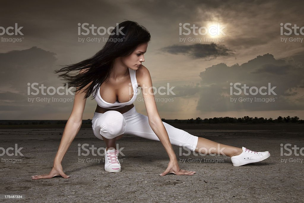 Athletic Young Women Training On a Nature royalty-free stock photo