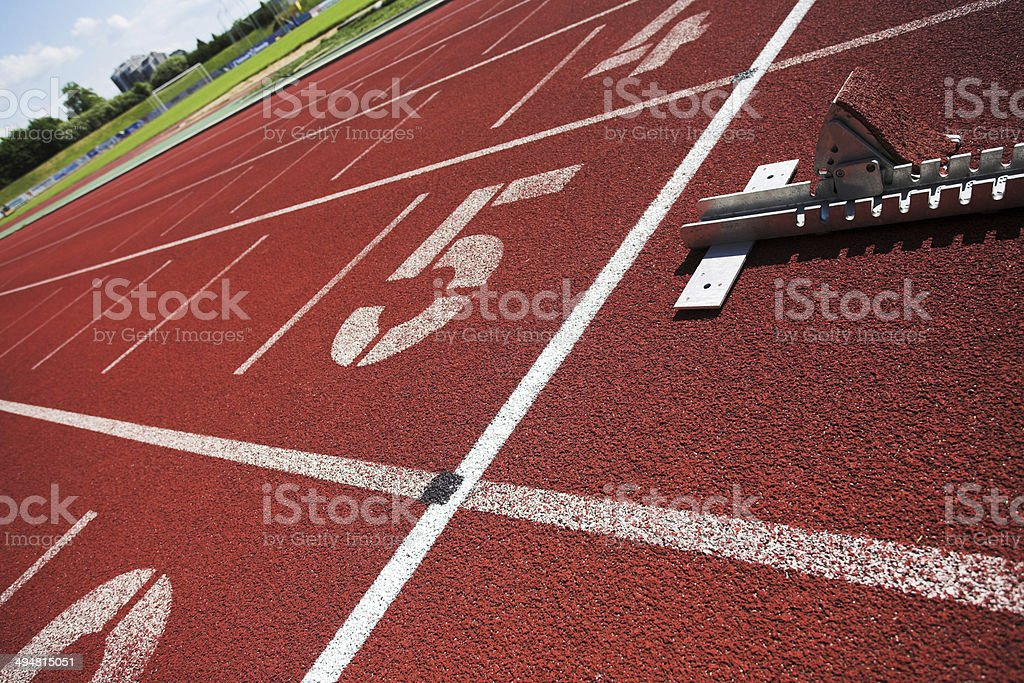 athletics sprint running track stock photo