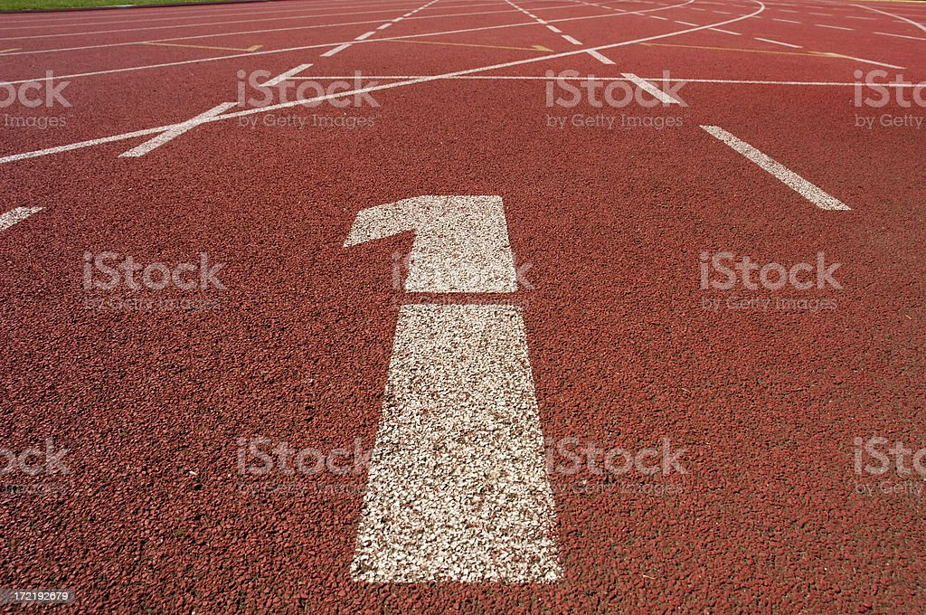 Athletics stadium start royalty-free stock photo