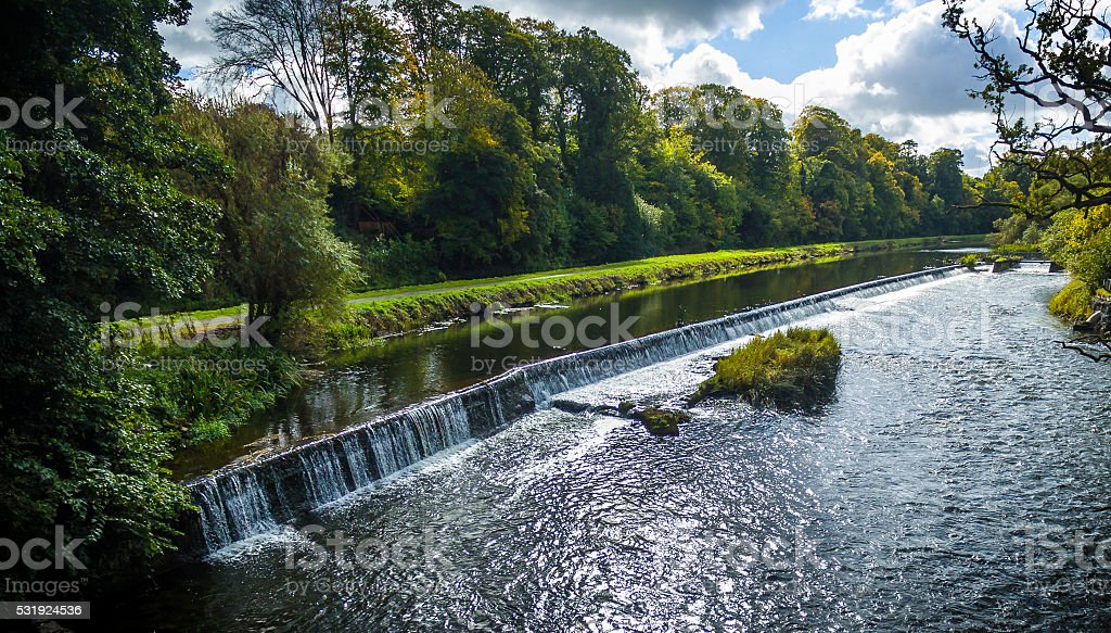 Athlumney Weir on the River Boyne - Drone Shot stock photo