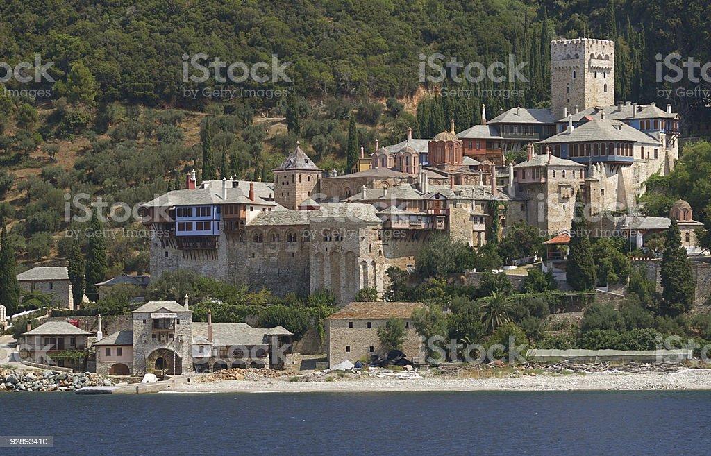 Athos monastery stock photo