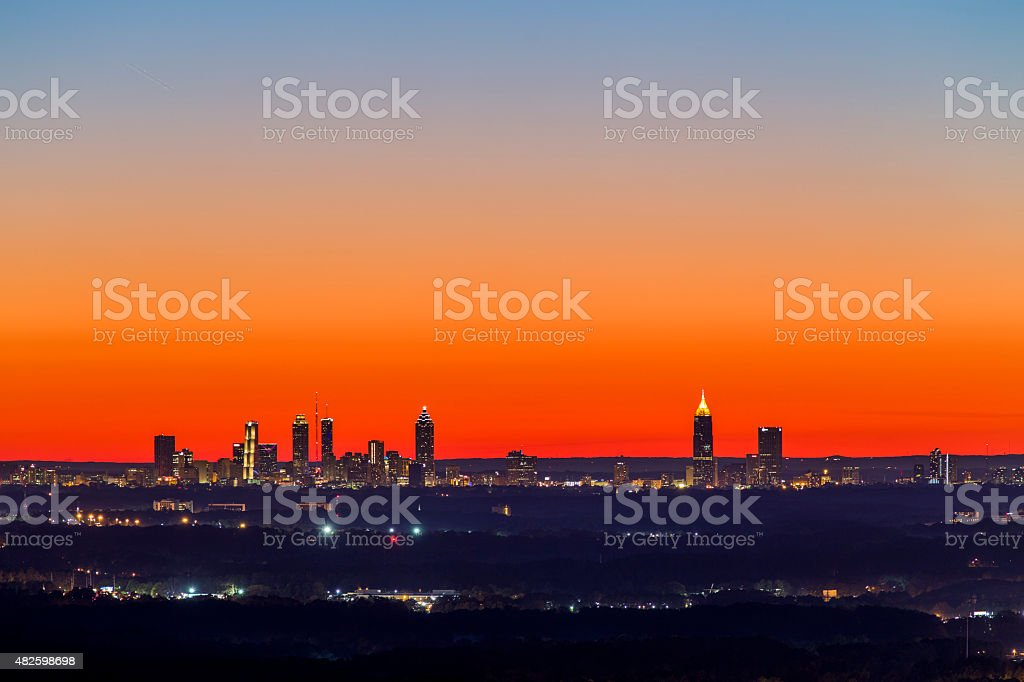 Atlanta Downtown Sunset Skyline stock photo