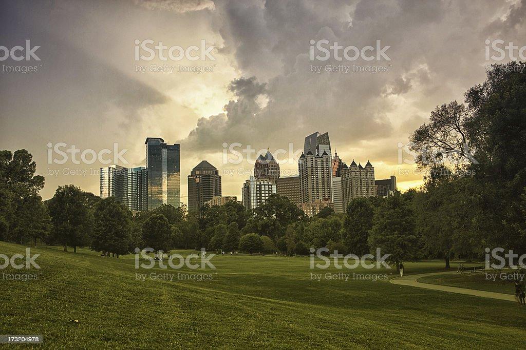 Atlanta from Piedmont Park stock photo