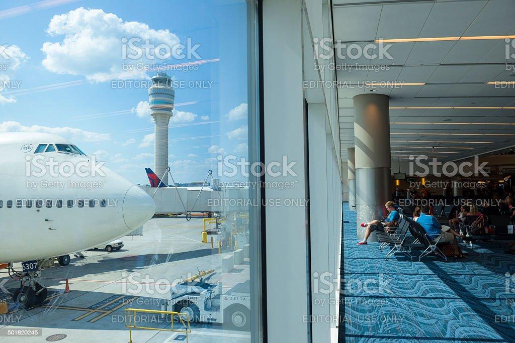 Atlanta International Airport and Boeing 747 stock photo