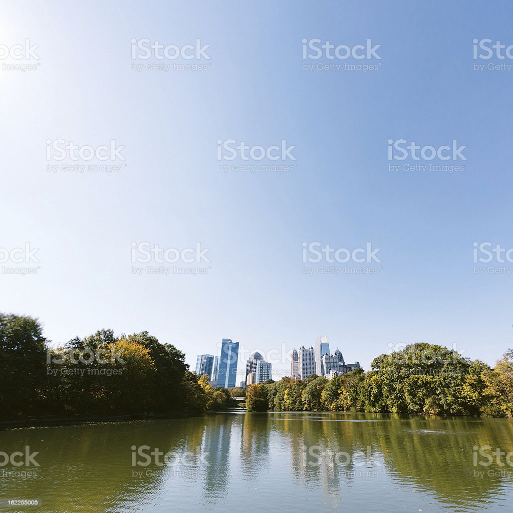 Atlanta Midtown, Piedmont Lake royalty-free stock photo