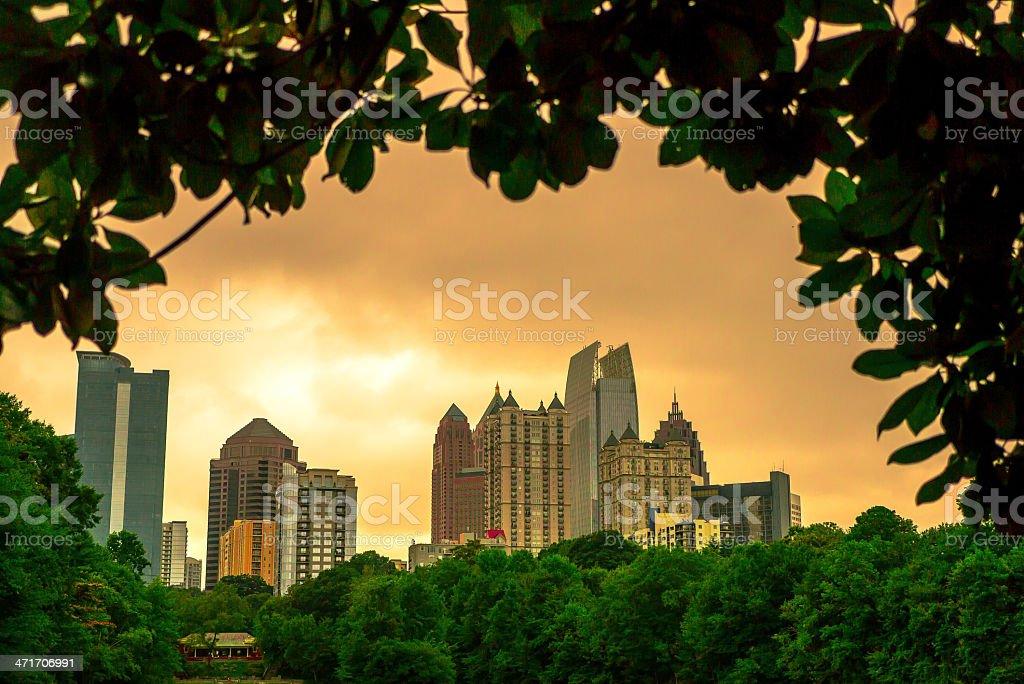 Atlanta Midtown Skyline at Sunset stock photo