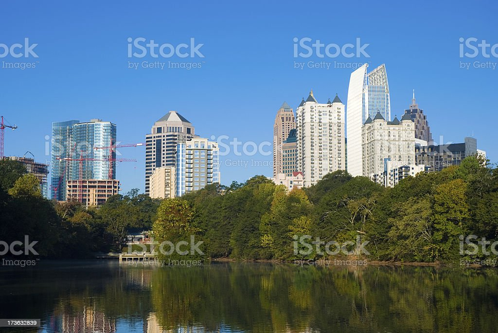 Atlanta Midtown skyline from lake royalty-free stock photo