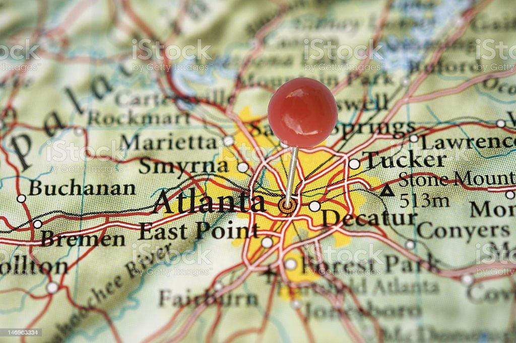 Atlanta on map with pin royalty-free stock photo