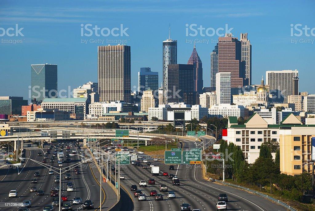 Atlanta skyline and freeway stock photo