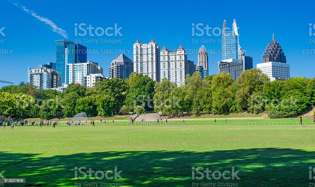Atlanta Skyline and Piedmont Park stock photo